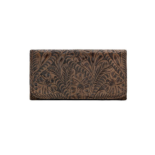 American West Floral Tri Fold Wallet in Brown