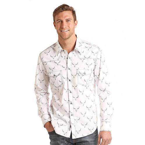 Panhandle White Long Horn Western Shirt