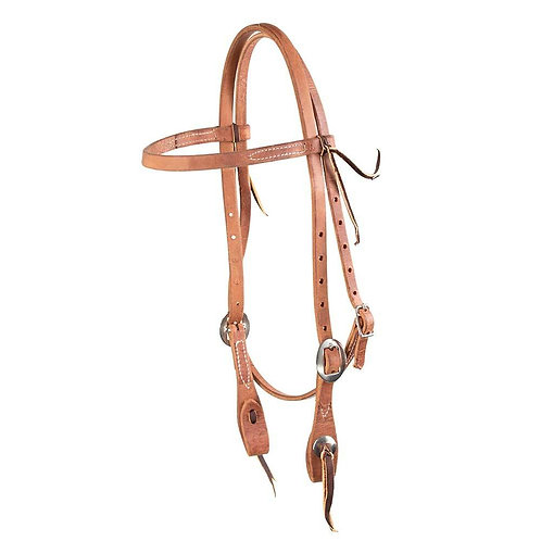 Oiled Browband Headstall with Slotted Conchos