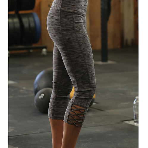 Cinch Grey Crisscross Hem Leggings