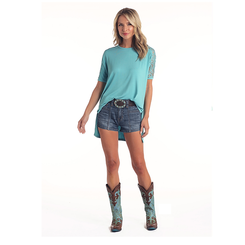 Ladies Panhandle Turquoise Lace Tunic Top