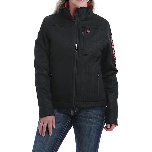 Ladies Cinch Black Jacket with Pink Lining