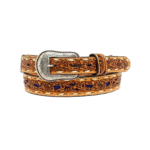 Nocona Tan with Royal Blue Inlay White Lace Belt