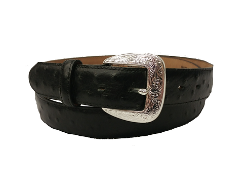 Tony Lama Black Ostrich Belt