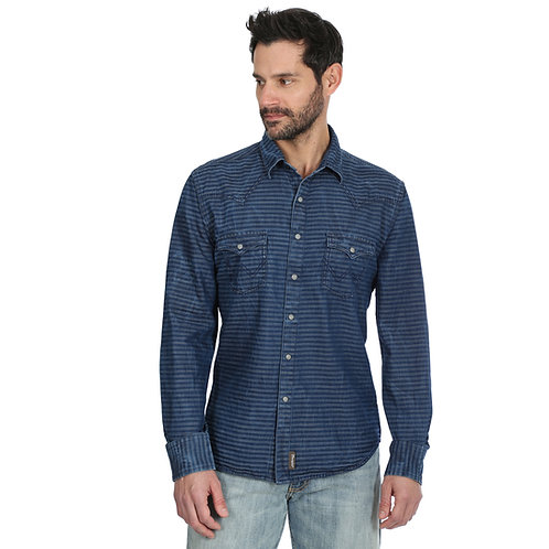 Men's Wrangler Indigo Striped Western Shirt