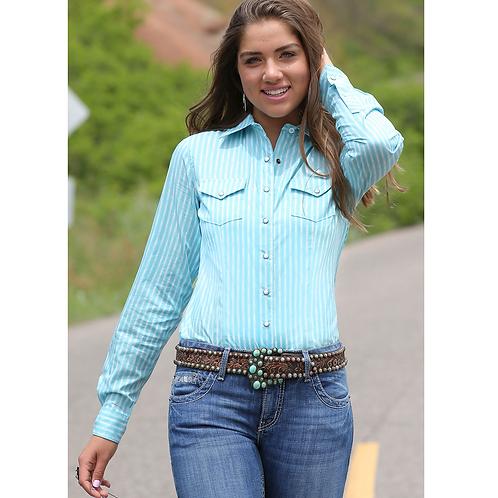Ladies Cinch Baby Blue Striped Western Shirt