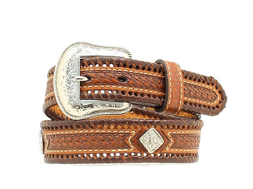 Nocona Brown Laced Diamond Concho Belt