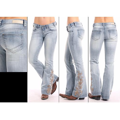 Rock & Roll Denim Faded Floral Trouser W8-7691 Jeans