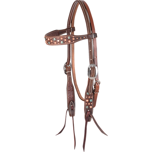 Martin Saddlery Mixed Copper & Turquoise Dot Browband