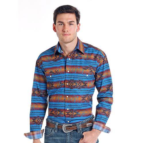 Panhandle Blue Serape Aztec Western Shirt