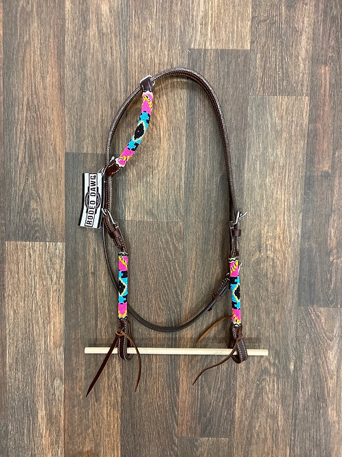 Beaded One Ear with Throat Latch - Neon