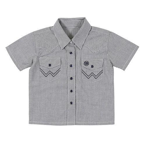 Infant Blue & White Striped Western Shirt