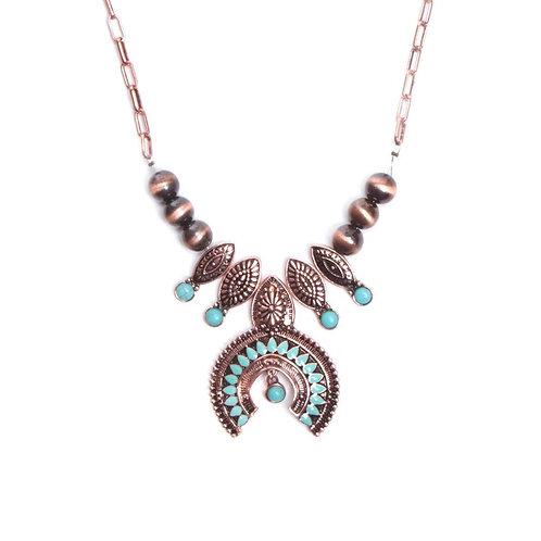 MS Attitude Navajo Turquoise Squash Blossom Necklace