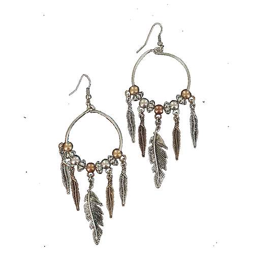 Blazin Roxx Hoop Feather Fringe Earrings