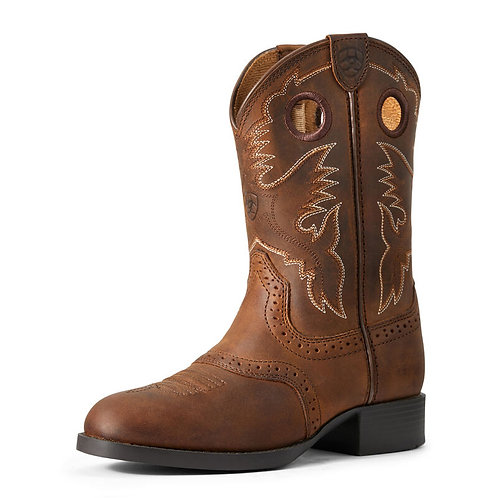 Ariat Distressed Brown Heritage Stockman Youth Boots