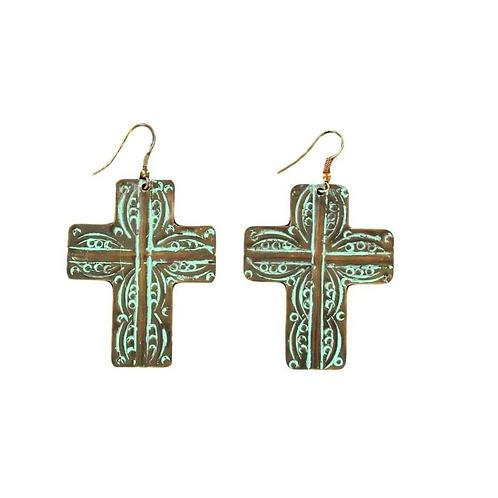 Blazin Roxx Turquoise Cross Earrings