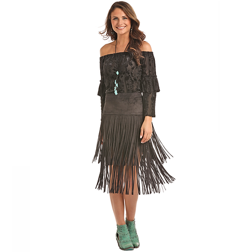 Powder River Outfitters Black Micro Suede Fringe Skirt