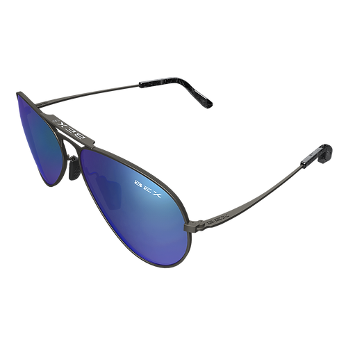 BEX Wesley Sunglasses - Grey Frame, Blue Lens