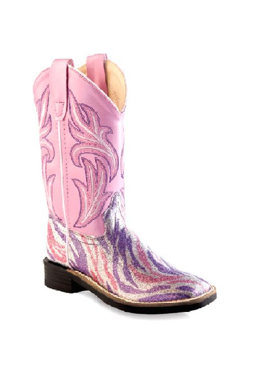 Old West Purple/Pink Zebra Boot