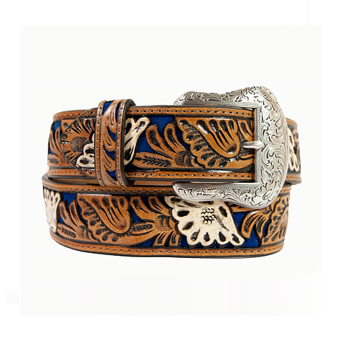 Nocona Royal Blue & Tan Floral Carved Belt