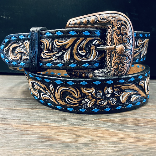 Fancy Floral Tooled Belt with Blue Buckstitch