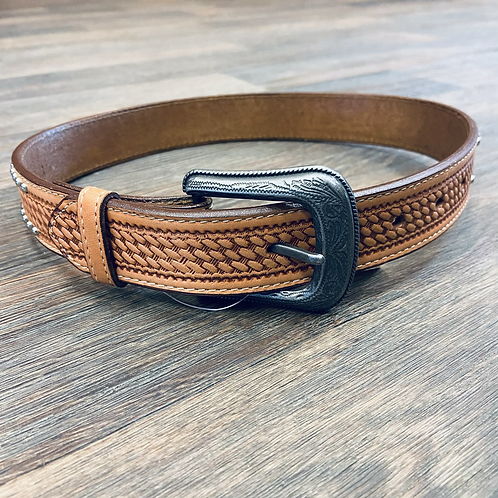 Kid's Studded Basketweave Belt - Golden