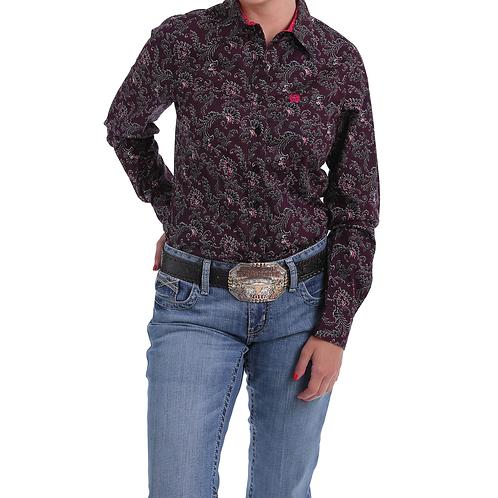 Cinch Burgundy Paisley Western Shirt with Hot Pink Cuffs