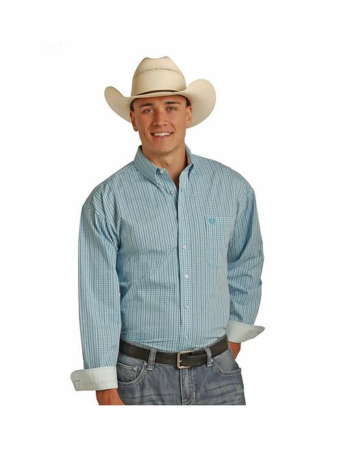 Panhandle Caribbean Blue Checkered Western Shirt
