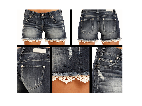 Rock & Roll Denim Dark Vintage Wash Shorts with Lace