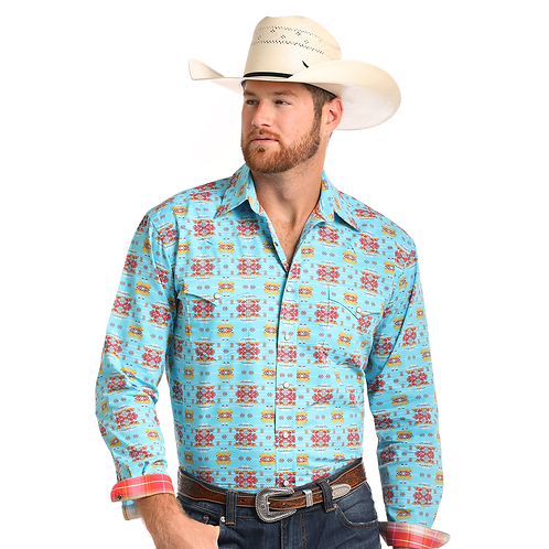 Panhandle Blue Nainimo Aztec Western Shirt