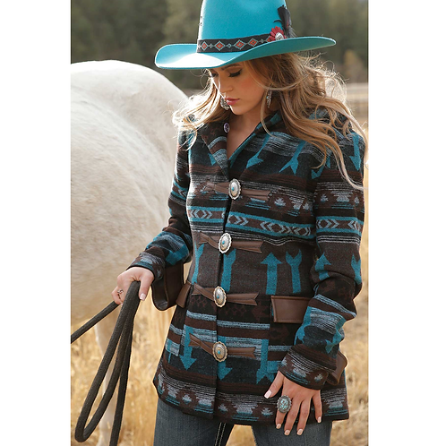 Ladies Cruel Brown & Turquoise Tweed Jacket with Concho Buttons