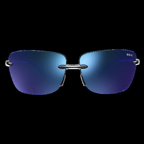 BEX Jaxyn XL Sunglasses - Dark Frame, Blue Lens