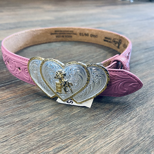 Kid's 3D Pink Tooled Belt with Heart Shaped Barrel Racer Buckle