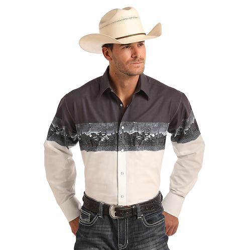 Panhandle Ombre Bucking Bronco Western Shirt