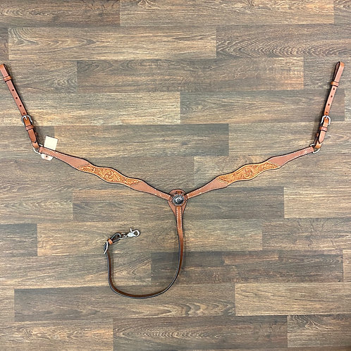 TN Chestnut 1/3 Tooled Breastcollar with Concho