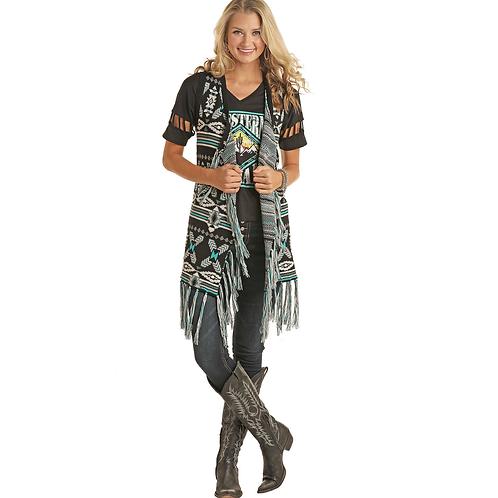 Ladies Panhandle Black & Turquoise Fringe Fashion Vest