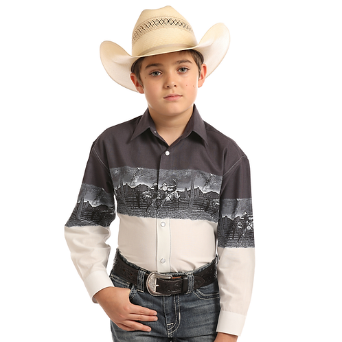 Panhandle Ombre Bucking Bronco Western Shirt