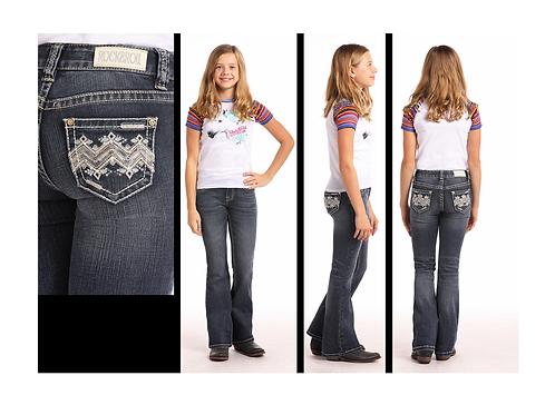 Rock & Roll Denim Silver & Gold Chevron Jeans
