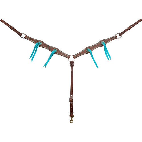 Martin Saddlery Scalloped Turquoise String Breastcollar