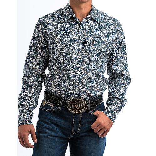 Cinch Blue, Green & Silver Paisley Western Shirt