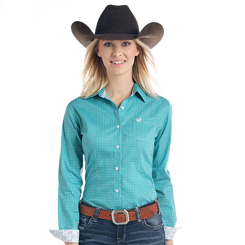 Panhandle Turquoise Print Western Shirt with Aztec Cuffs