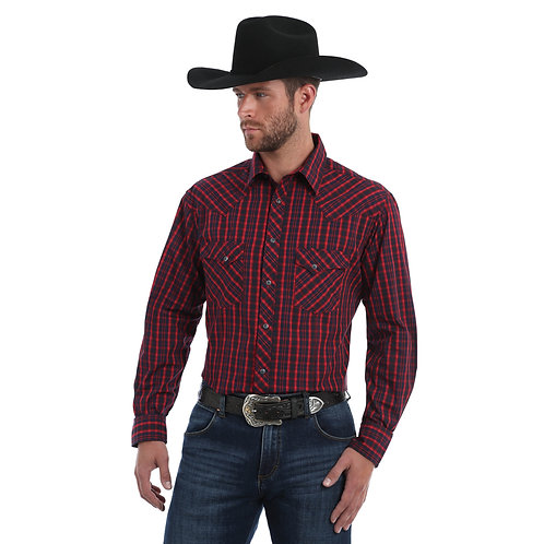 Wrangler Red & Navy Plaid Western Shirt