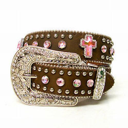 Nocona Studded Pink Cross Bling Belt