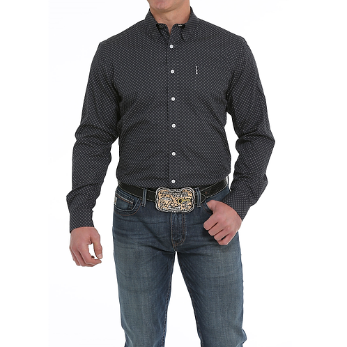 Cinch Smoked Black Western Shirt with White Dots
