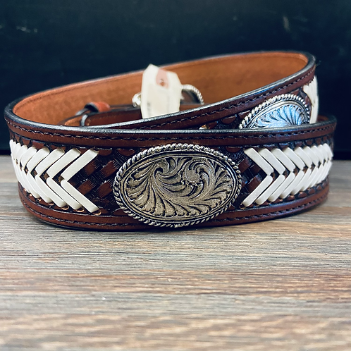 Chestnut Basketweave Belt with White Laces & Conchos