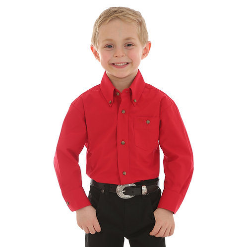 Wrangler Solid Red Western Shirt