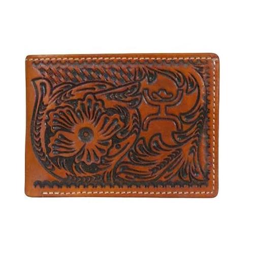 Hooey Saddle Brown Embossed Bi Fold Wallet