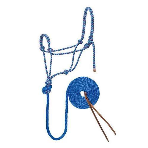 Weaver Diamond Braid Rope Halter & Lead - Blue, Orange & Lime