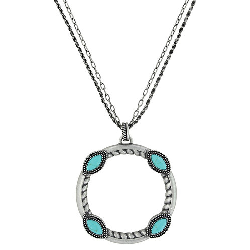 Montana Attitude Jewelry Antique Silver Turquoise Hoop Necklace