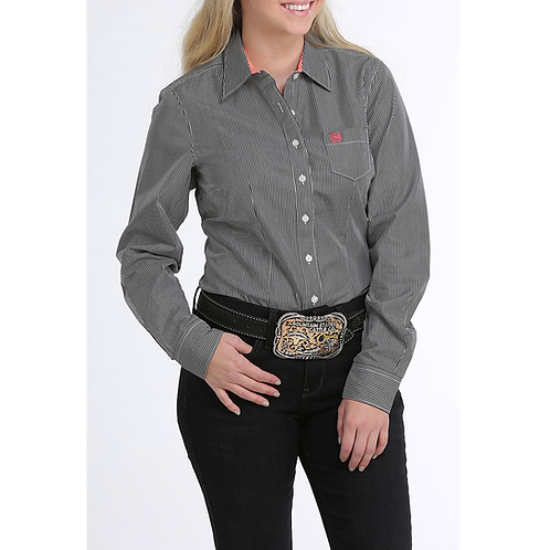 Cinch Black & White Pinstripe Western Shirt with Coral Cuffs